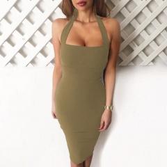 Fashion Women's Solid Color Slim Sleeveless Knee-Length  Halter Party Dresses Khaki s