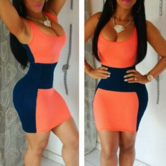 Sexy Fashion Women's Sleeveless Package Hip Contrast Color Mini Dresses orange s