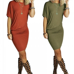 Women's Fashion Round Neck Short Sleeve Fold Irregular Knee Length Dresses army green s