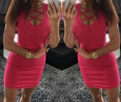 Women's Sexy Deep-V neck  Cross Cross Front Sleeveless Mini Dresses rose red s