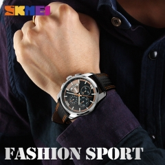 Outdoor Sports Quartz Watches Men Top Luxury Brand Chronograph Leather Waterproof Wristwatches red 46mm