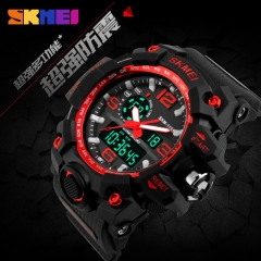 Large Shock Outdoor Sports Watches Digital LED Waterproof Military Army Watch Alarm Wristwatches red 50mm