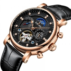 Skeleton Tourbillon Mechanical Watch Automatic Men Classic Male Gold Dial Leather Wrist Watches black 42mm
