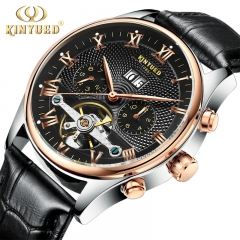 Skeleton Tourbillon Mechanical Watch Automatic Leather Strap Mechanical Wrist Watches for Men black 42mm