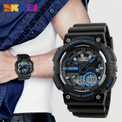 Men Sports Watches Chrono Back Light Watch Shock Resistant Dual Display Wristwatches blue 48mm