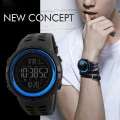 Men Sports Watches Countdown Double Time Watch Alarm Chrono Digital Wristwatches Waterproof Watch blue 49mm