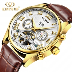 Business Mechanical Watches Skeleton Tourbillon Automatic Watch Men Gold Steel Waterproof Watch Brown Leather White 41mm