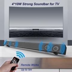 Strong Sound Bar 40W Super Bass TV Home Theater System Stereo Bluetooth Speaker Remote Loudspeaker Black BT4.0