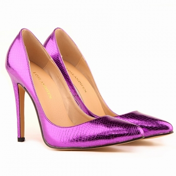 Pointed super fine with the increase in the classic single shoes with the explosion of stars purple 37