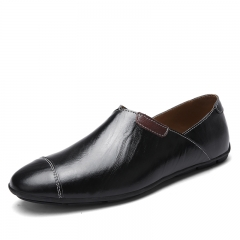 Mens Genuine Leather Business Shoes Dress Shoes Flat Breathable Loafer Casual Shoes Plus Size 38~47 black 39