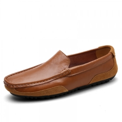 Men's Brown Loafers Slip On Shoes Cow Split Casual Shoes Soft Driving Breathable Flats Size 38-44 brown 39