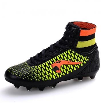 Men Women Football Soccer Boots Leather High Top Soccer Training Football Sneaker Size 35~45 black 41