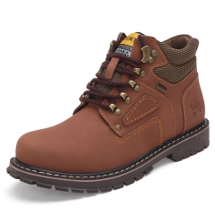 Men's Boots High Quality Work & Safety Boots Plus Size 47 Work Leather Shoes Fashion Ankle Boot light brown 39