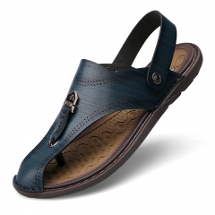 Men Leather Sandals Fashion Summer Shoes Men Slippers Breathable Men's Sandals Causal Shoes blue 38