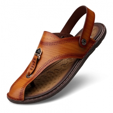 Men Leather Sandals Fashion Summer Shoes Men Slippers Breathable Men's Sandals Causal Shoes brown 41