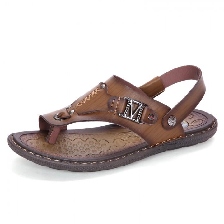 Men's Leather Sandals Fashion Summer Shoes Men Slippers Breathable Men's Sandals Causal Shoes khaki 41