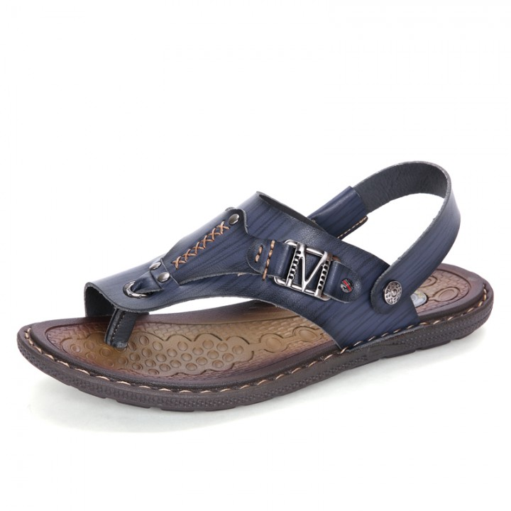 Men's Leather Sandals Fashion Summer Shoes Men Slippers Breathable Men's Sandals Causal Shoes dark blue 44