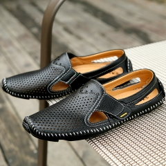 Men Sandals Black Leather Sandals Summer Hollow Shoes Men's Breathable Casual Leather Sandailas brown 44