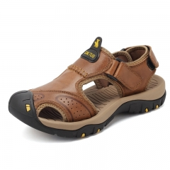 Men's Sandals Summer Fashion Leather Beach Sandals Casual Shoes Mens Slippers brown 38
