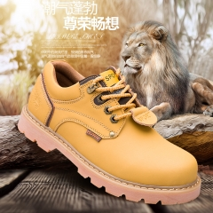 Men's Boots High Quality Work & Safety Boots Plus Size 46 Work Leather Shoes Fashion Ankle Boot yellow 46