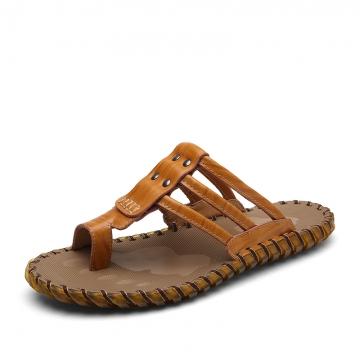 Men Flip Flops Sandals Casual Men Shoes Summer Genuine Leather Beach Flip Flops Size 38~44 yellow 44