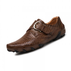 Fashion Men Casual Shoes Genuine Leather Loafers Comfortable Dress Shoes Driving Shoes Big Size 46 brown 44