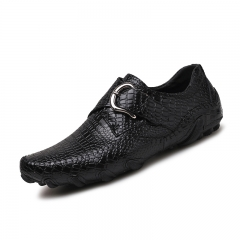 Fashion Men Casual Shoes Genuine Leather Loafers Comfortable Dress Shoes Driving Shoes Big Size 46 black 39