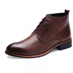 Men's Business Shoes Fashion Oxfords British Brogues Shoes Casual Design Pointed Toe brown 39