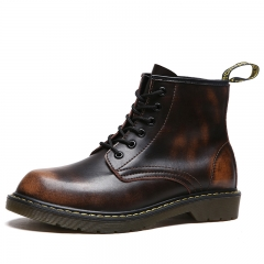 Men's Boots Martin Boots Vintage Shoes Breathable Working Shoes Outdoor Casual Leather Shoes dark brown 39