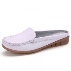 Woman sandals Lady half slippers flip flops Genuine Leather sandals Casual Shoes Big Size 41 white 35