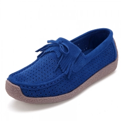 Ladies Fashion Casual Leather Shoes Women Hollow Breathable Flats Non-slip Loafers blue 35