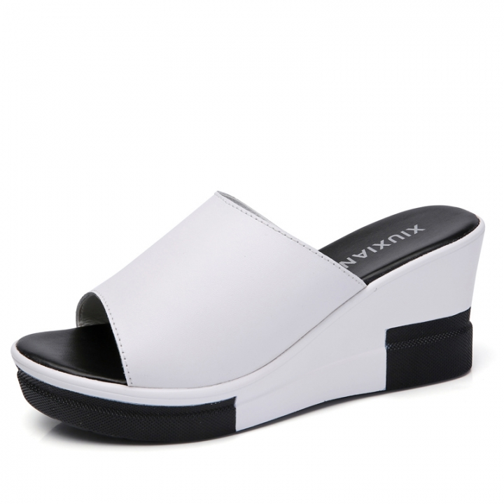 Womens Lovely Sandals Ladies Fashion Casual Leather Slippers Platform Shoes white 35