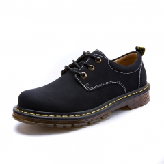 Mens Working Safety Shoes Outdoor Casual Shoes Ankle Nubuck Leather Shoes Non-slip Martin Shoes black 39