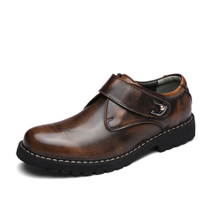 Men's Shoes Fashion Formal Antique British Casual Shoes High Quality Cow Leather Shoes brown 39 clow split leather