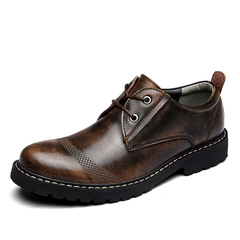 Men's Shoes Fashion Formal Antique British Casual Shoes High Quality Cow Leather Shoes Lace Up brown 39 clow split leather