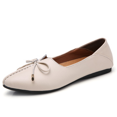 Lady's Fashion Loafers Slip On Shoes Cow Split Leather Casual Shoes Breathable Flats beige 35