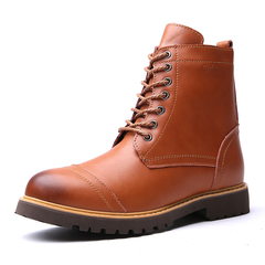 Men's Boots High Quality Work & Safety Boots Fashion Martin Shoes Casual Leather Boots light brown 39