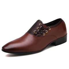 Mens Shoes Fashion Business Shoes Pointed Toe Dress Shoe Big Size Shoes Oxfords brown 39 pu