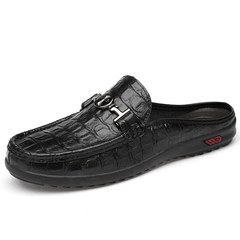 Mens Fashion White Casual Shoes Loafers Breathable Flats Cow Split Leather Slippers Big Size 47 black 39