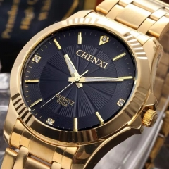Golden Fashion Men Watch Stainless Steel Quartz Wrist black