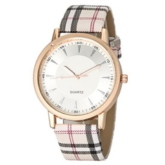 Women's Watch Fashion Plaid Pattern Band white