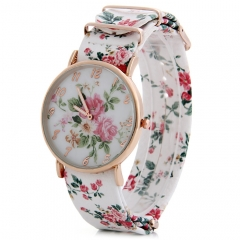 Floral Pattern Leather Band Women Quartz Watch white