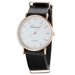 Geneva Leather Band Contracted Quartz Watch for Men black