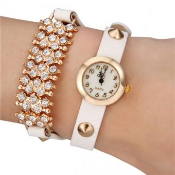 Women's Diamond Decor Leather Band Bracelet Watch white
