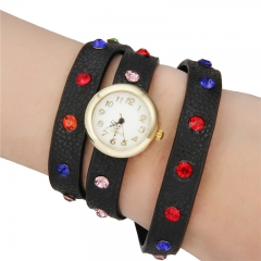 Women's Colorful Crystal PU Bracelet Watch black