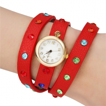 Women's Colorful Crystal PU Bracelet Watch red