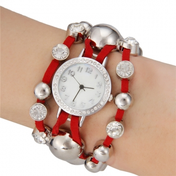 Women's Small Bell Round Dial Watch red