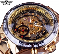 Men's Automatic  Hollow Engraving Stainless Watch golden