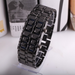 Women Fashion Lava Metal LED Watches Full Stainless Steel black