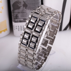 Men Fashion Lava Metal LED Watches Full Stainless Steel silver